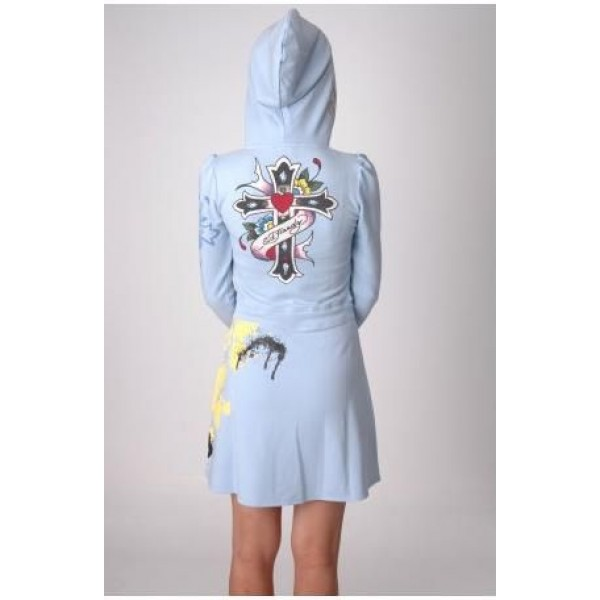 Ed Hardy Dress Hoodies True Love Blue For Women