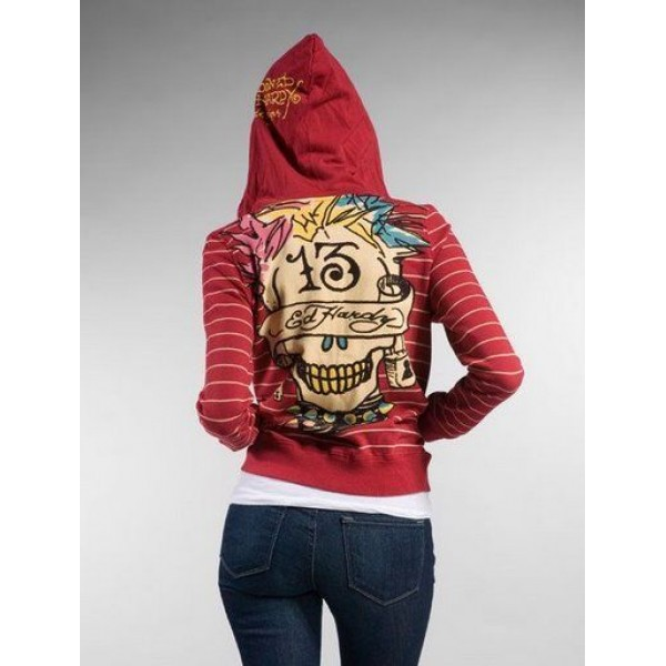 Ed Hardy Hoodies 13 Skull Stripe Red For Women