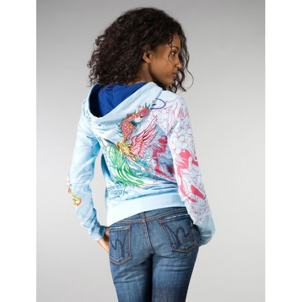 Ed Hardy Hoodies Angel 1958 Blue For Women