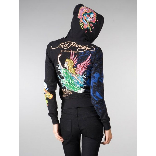 Ed Hardy Hoodies Angel Skull 1958 Black For Women