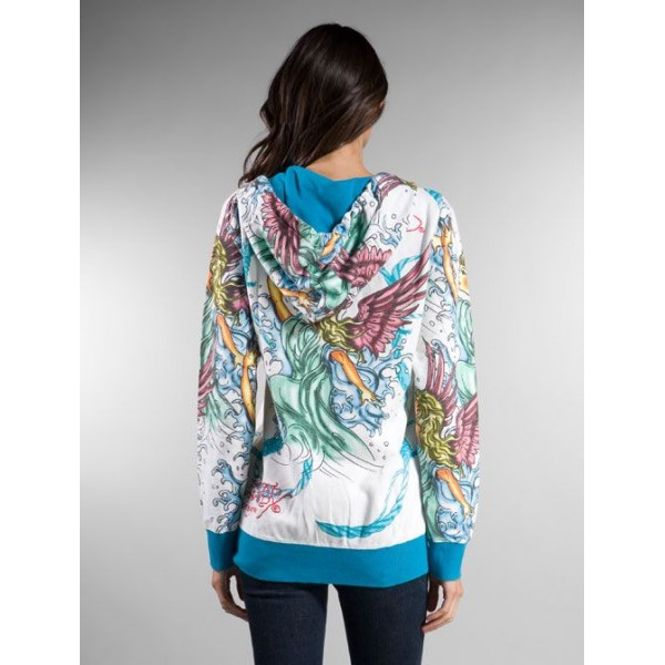 Ed Hardy Hoodies Angel White Blue For Women