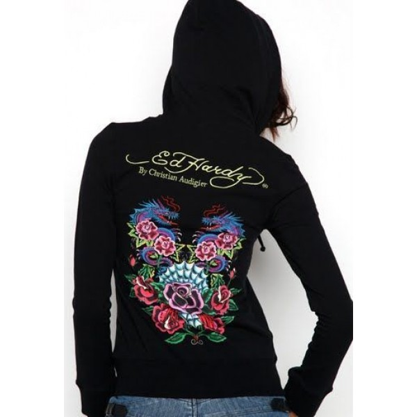 Ed Hardy Hoodies Black Dragon Roses For Women