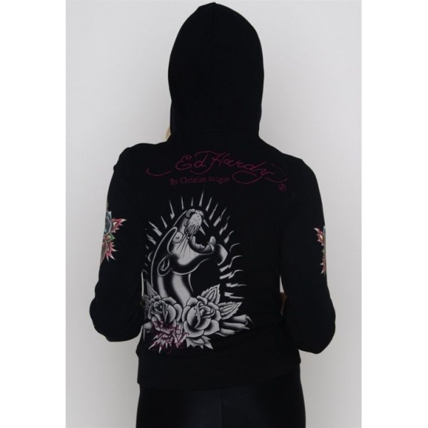 Ed Hardy Hoodies Black Leopard Black For Women