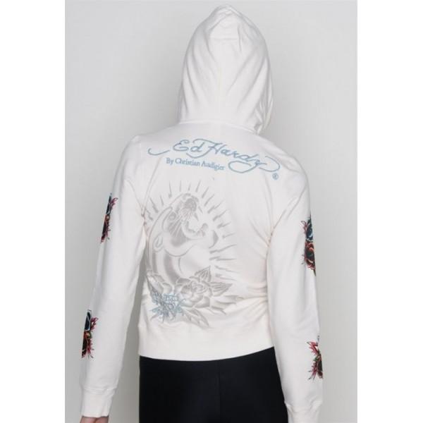 Ed Hardy Hoodies Black Leopard White For Women