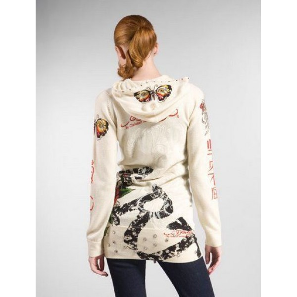 Ed Hardy Hoodies Butterfly Lobe Sand For Women