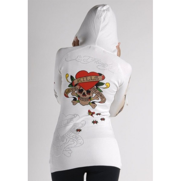 Ed Hardy Hoodies Classic Love Kill Slowly White For Women