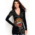 Ed Hardy Hoodies Classic Tiger Black For Women
