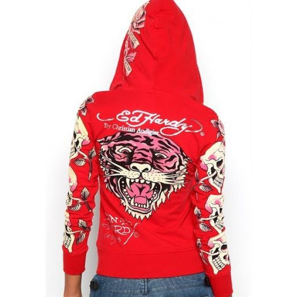 Ed Hardy Hoodies Classic Tiger Logo Red For Women
