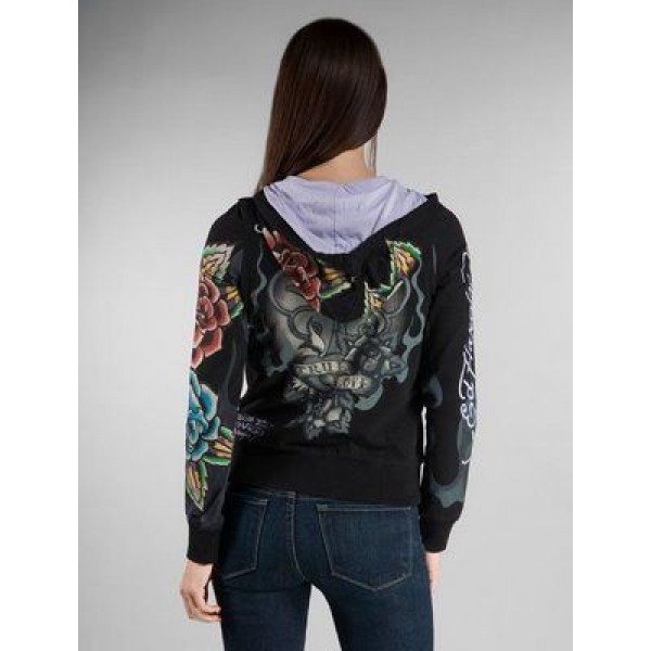 Ed Hardy Hoodies Cross True Love Black For Women