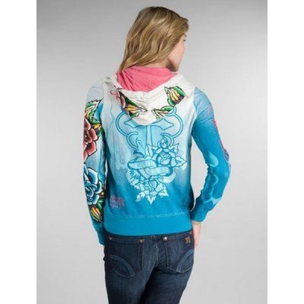 Ed Hardy Hoodies Cross True Love Blue For Women