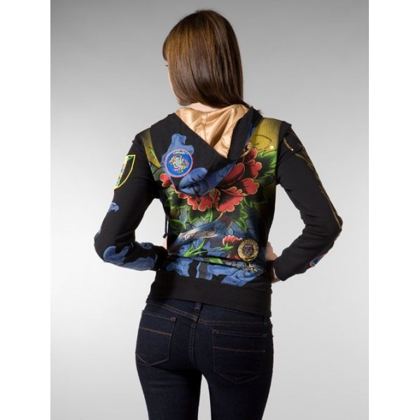Ed Hardy Hoodies Dagger Black Flowers For Women