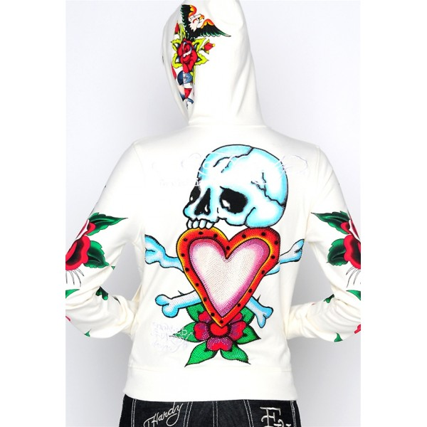 Ed Hardy Hoodies Danger Rose White For Women