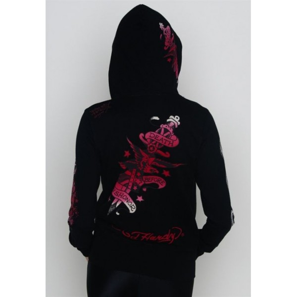 Ed Hardy Hoodies Death Before Shonor Black For Women