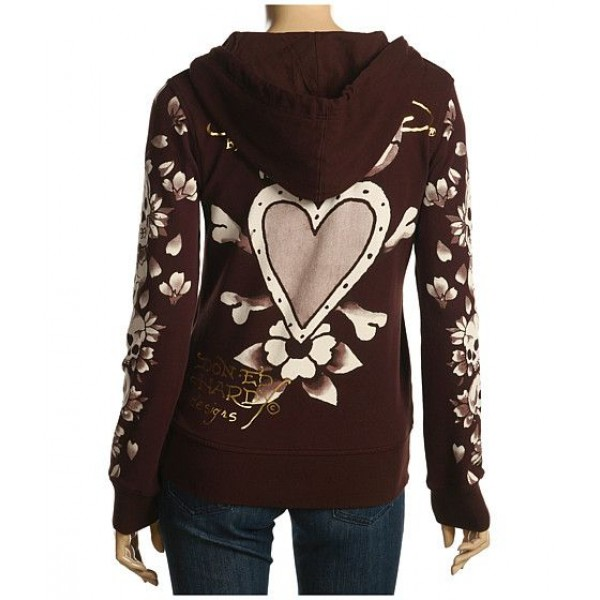 Ed Hardy Hoodies Death Of Love Chocolate For Women