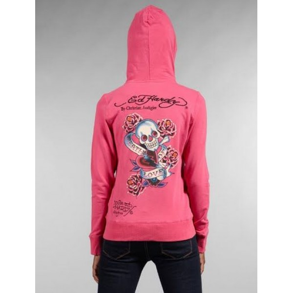 Ed Hardy Hoodies Death Of Love Red For Women