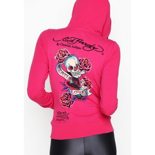 Ed Hardy Hoodies Death Of Love Rose Red For Women