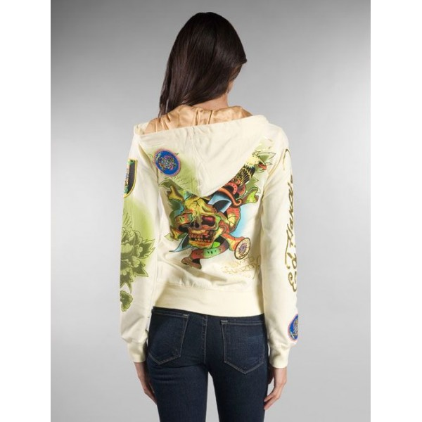Ed Hardy Hoodies Death Or Glory Yellow For Women