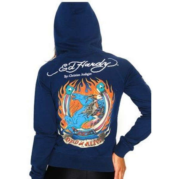 Ed Hardy Hoodies Dfld Or Death Blue For Women