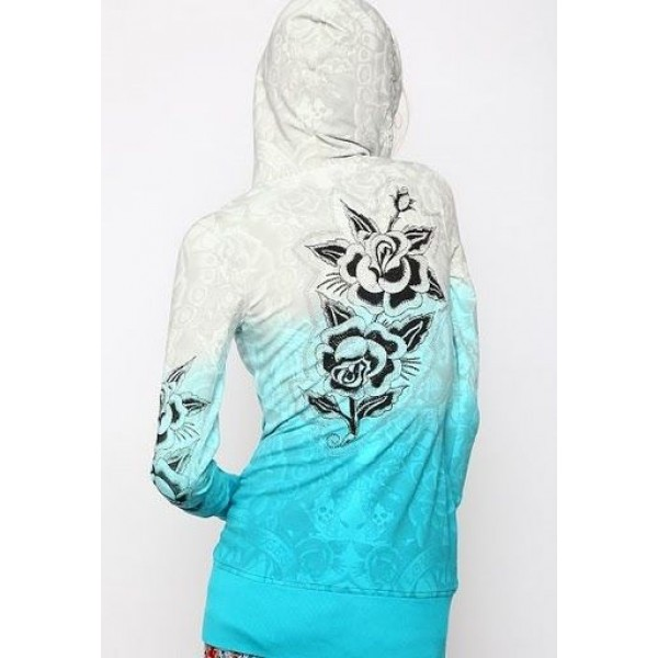 Ed Hardy Hoodies Diamond Rose White Blue For Women