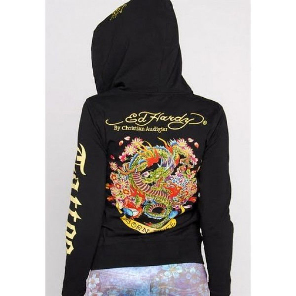 Ed Hardy Hoodies Dragon Born Black For Women