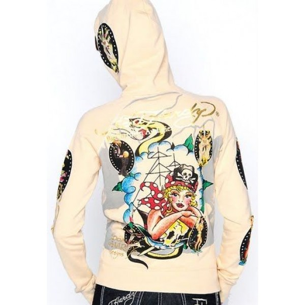 Ed Hardy Hoodies Female Pirate Ivory For Women