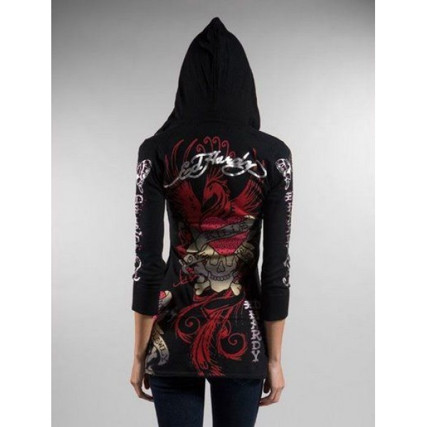 Ed Hardy Hoodies Fire Phoenix Black For Women