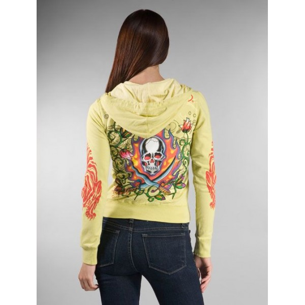 Ed Hardy Hoodies Flame Pirate Yellow For Women