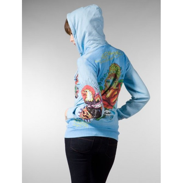 Ed Hardy Hoodies Girl Eagle Blue For Women