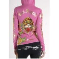 Ed Hardy Hoodies Gold Logo Tiger Pink For Women