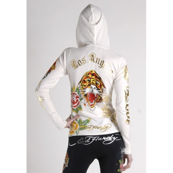 Ed Hardy Hoodies Gold Logo Tiger White For Women