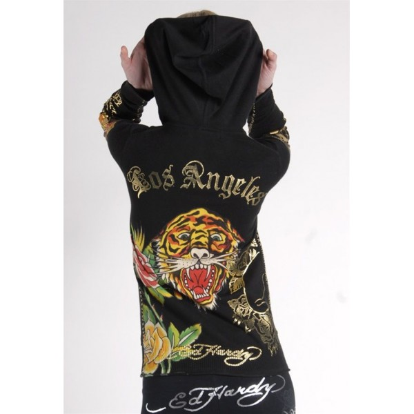 Ed Hardy Hoodies Gold Rose Tiger Black For Women