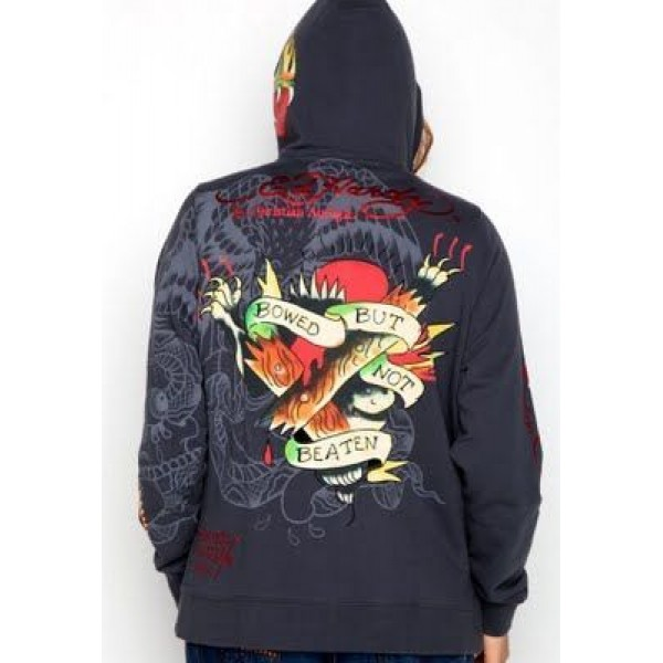 Ed Hardy Hoodies Grey Bowed But Not Beaten For Women