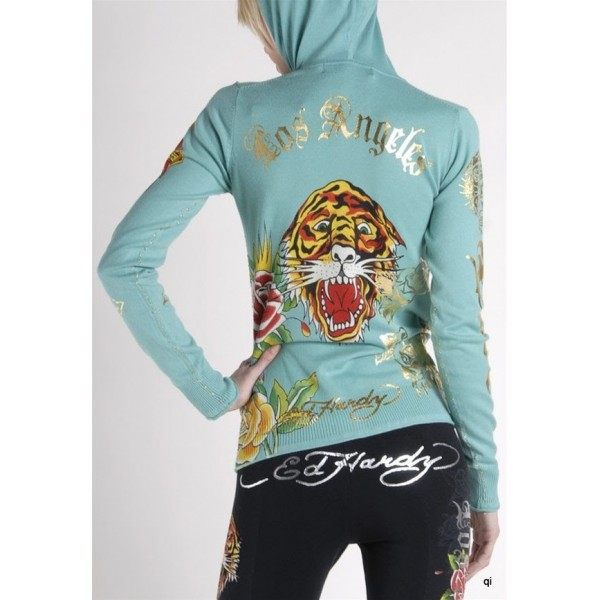 Ed Hardy Hoodies Los Angeles Tiger Blue For Women
