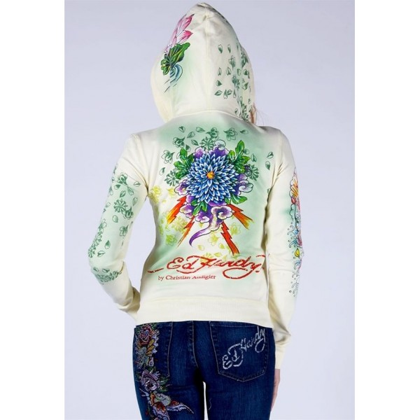 Ed Hardy Hoodies Lotus Green For Women