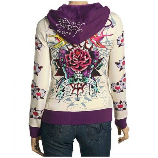 Ed Hardy Hoodies Love And Roses Purple For Women
