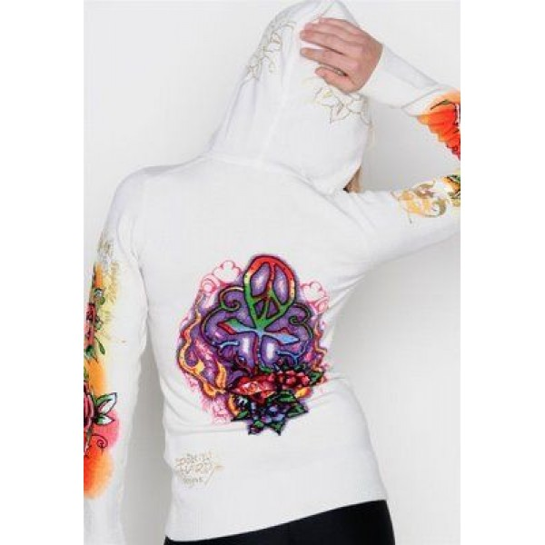 Ed Hardy Hoodies Love Cross White For Women