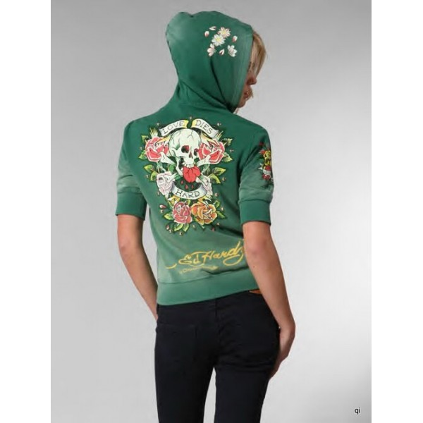 Ed Hardy Hoodies Love Dies Hard Green For Women
