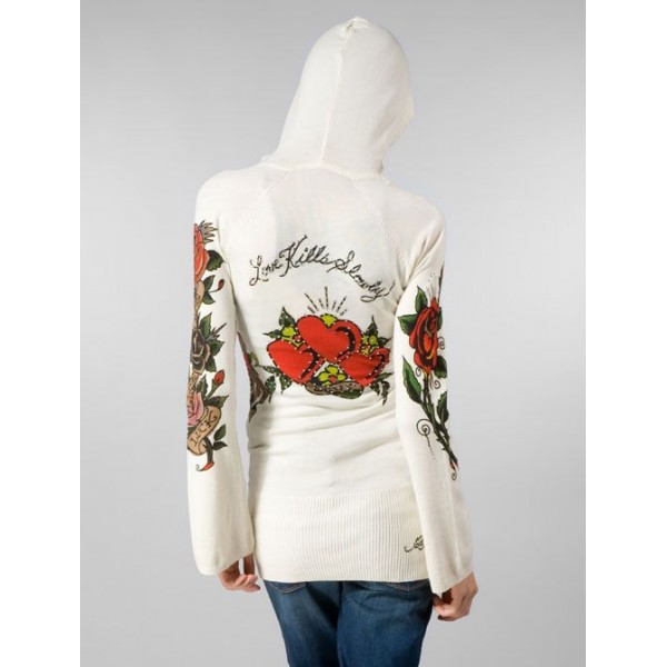 Ed Hardy Hoodies Love Heart White For Women