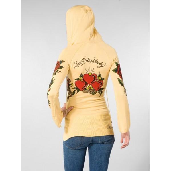 Ed Hardy Hoodies Love Heart Yellow For Women