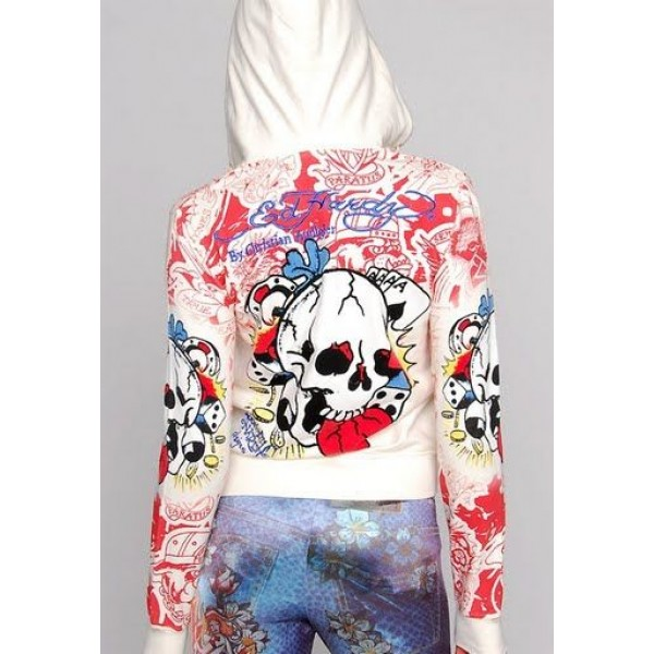 Ed Hardy Hoodies Magic Skull White For Women