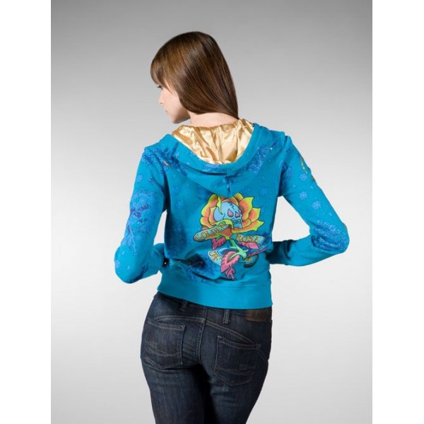 Ed Hardy Hoodies Olden Blue For Women