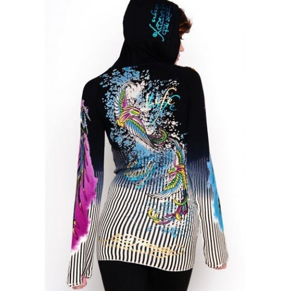 Ed Hardy Hoodies Phoenix Gird Black For Women