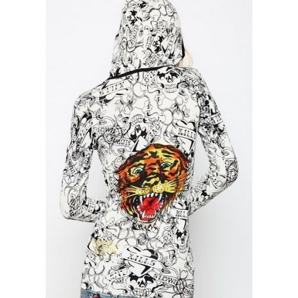 Ed Hardy Hoodies Print Tiger Logo White For Women