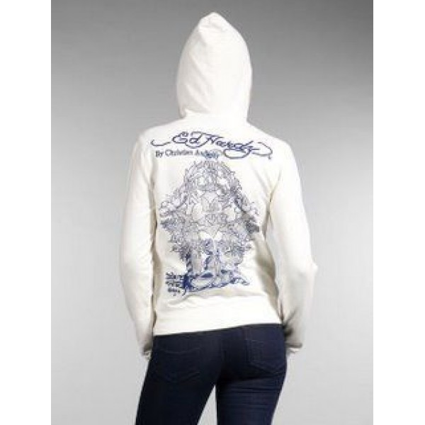 Ed Hardy Hoodies Printing Blue White For Women