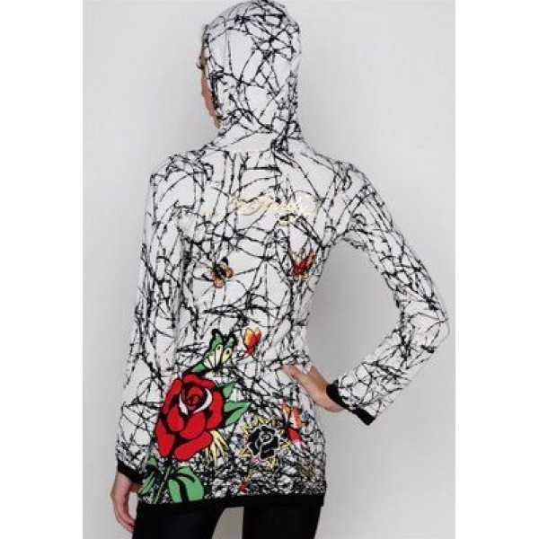 Ed Hardy Hoodies Printing Roses White For Women