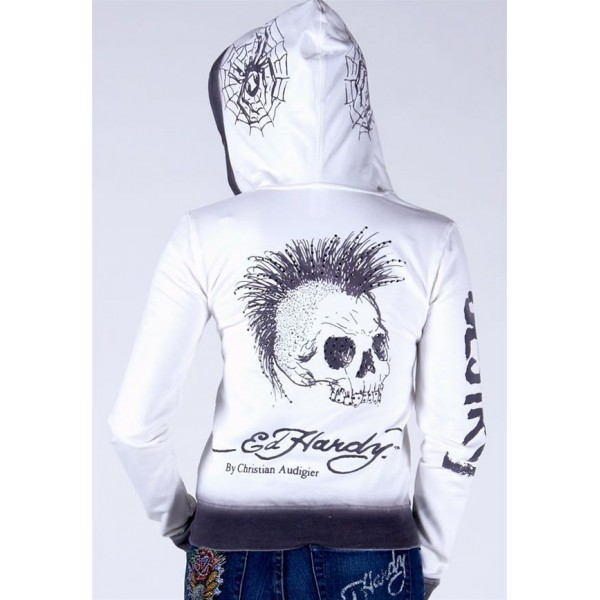 Ed Hardy Hoodies Punk Skull White For Women