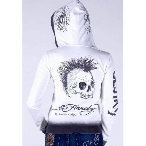 Ed Hardy Hoodies Punk Skull White For Women