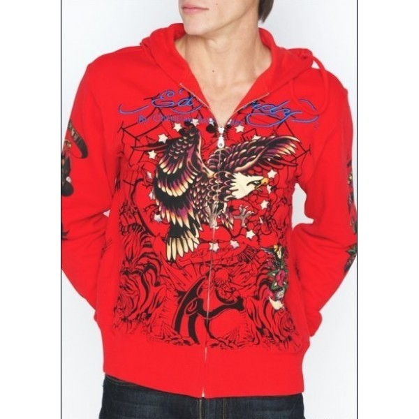 Mens Ed Hardy Hoodies Red Eagle Clothing Outlet