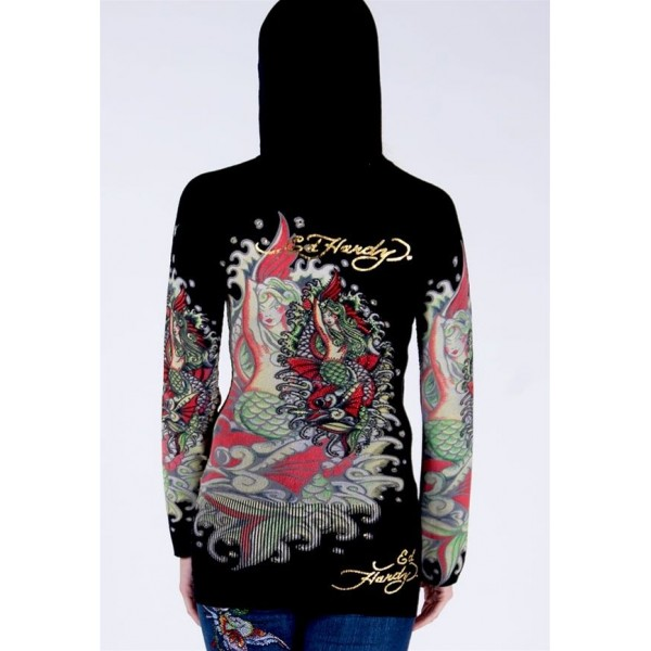 Ed Hardy Hoodies Red Mermaid Black For Women