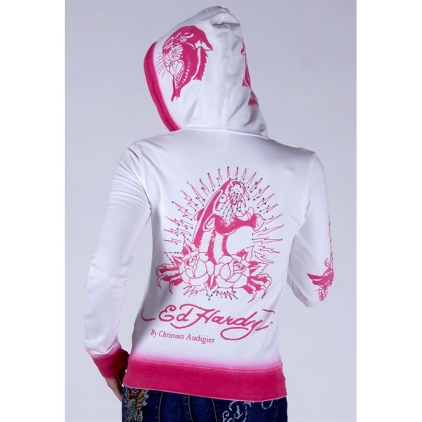 Ed Hardy Hoodies Rose Red Leopard White For Women